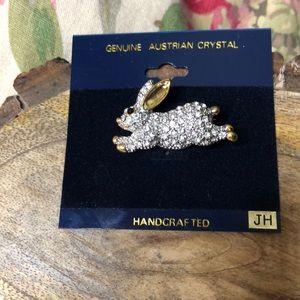 Rabbit Pin Austrian Crystal HANDCRAFTED Bunny $69